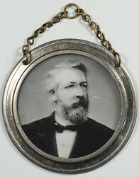 1884 James G. Blaine 2 1/8 Glass/pewter Ambrotype W/ Double Image Very Rare