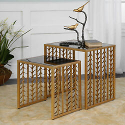 22 W Jayden Nesting Tables Branches Design Iron Industrial Black Glass Top