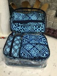 NEW WITH TAGS$58  VERA BRADLEY TRAVEL COSMETIC SET  MAKEUP BAGS In Cuban Tiles