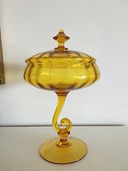 Spectacular Super Magnificent Amber Glass Candy Dish/bowl Covered Lid/top