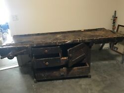 Vintage, Hand Made, 3 Drawer, Double Vise Work Bench