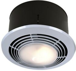 Bathroom Ceiling Exhaust Fan Light Heater 70 CFM Round Steel Combination Broan