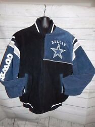 Dallas Cowboys G-iii Sports Navy Suede Leather Varsity Full Zip Jacket Size L
