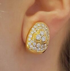 2.00 ct Diamond Pave Oval Dome Earrings in 18k Yellow Gold --HM1845SE