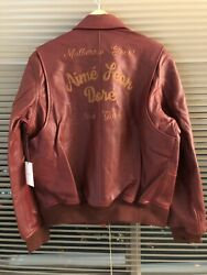 New Ald Aime Leon Dore Brown Chainstitch Leather Bomber Jacket Large Lamb