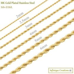18K Gold Plated Stainless Steel Rope Chain Bracelet Necklace Men Women 2 8mm $7.69