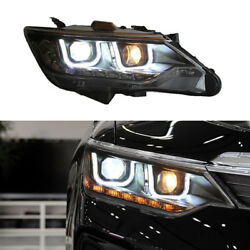 Car Double U-style LED Lamp+HID Xenon Headlamps Assembly For Toyota Camry 12-14