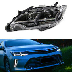 2pcs Headlamps Assembly LED+HID Xenon+Lens+Ballast Refit For Toyota Camry 13-15