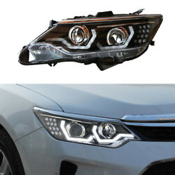 Black Cover LED Lamp+Xenon+Lens Headlamps Assembly Adorn For Toyota Camry 13-15