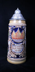 First Edition Gerz German Cities Themed Lidded Beer Stein Mug Hand Painted
