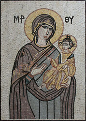 Religious Miniature Portrait Jesus And Mother Mary 27x38 Marble Mosaic Fg1128
