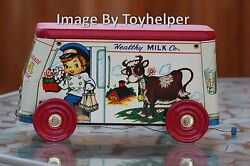 The Gong Bell 123 Milk Truck W/bell And Box Vintage 40s-50s Dairy Farm Art