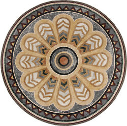 Fan Design Abstract Peacock Pattern Round 71 Floor Art Marble Mosaic Md1691