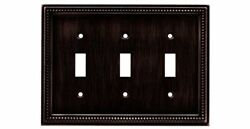 Beaded Triple Toggle Switch Wall Plate Switch Plate Cover - Venetian Bronze