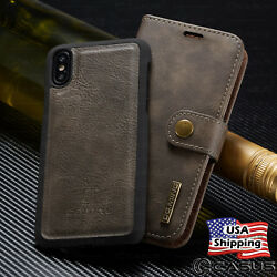 For iPhone X 8 7 6s Plus Leather Removable Wallet Magnetic Flip Card Case Cover