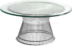 36 Round Glass Top Coffee Table Stainless Steel Spoke Wire Rod Base
