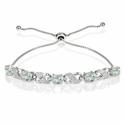 Sterling Silver Aquamarine And Diamond Accent Infinity Adjustable Bracelet