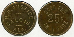 Rare Unlisted H. R. Justice 25c Lumber Token Calcis Shelby County Alabama Al