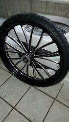 26 X 3.5 Vcut Black Contrast Wheel Dd With Tire Touring Harley Flh Flt 00-2007
