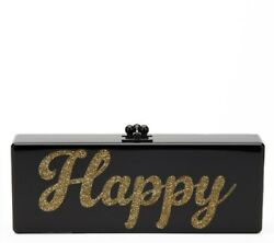 EDIE PARKER BLACK GLITTERED ACRYLIC HAPPY BOX CLUTCH  HB590
