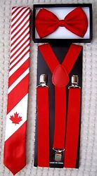 Canadian Canada Flag With Stripes 2 Necktie,red Bow Tie And Red 1 Suspenders