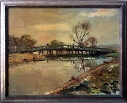 Old North Bridge, Concord, Mass. - Antique Impressionist Style Oil Painting