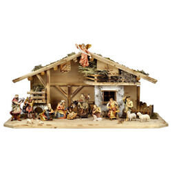 Presepe Completo 24 Pz. In Legno - Complete Crib 24 Pcs Woodcarved Full Color