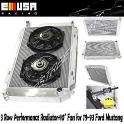 3 Row Aluminum Racing Radiator+10 Fans Fits 79-93 Ford Mustang Glx Lx Gt Svt