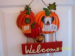 Skye Terrier hand painted  Halloween  Welcome  Sign dog art pumpkin