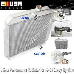 Aluminum Tri Core 3-row Radiator For Chevy 49-52 Styleline/50-54 Bel Air V8 Mt