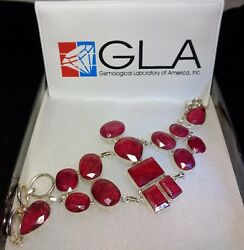 135.87 Ct Mixed Cut Ruby And Platinum Over Silver Bracelet - Gla Certified