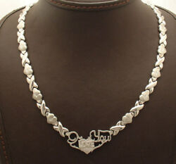 I Love You Hearts And Kisses Link Chain Necklace Anti-tarnish Rhodium 925 Silver