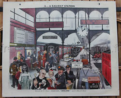 B216 French Antique Poster School Learn English Train +
