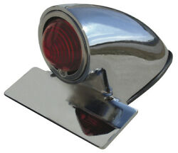 Ultima Die Cast Chrome Plated Original Chopper Style Taillight 12v W/ Red Lens