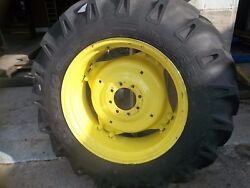Two 13.6x28 13.6-28 R1 8 Ply Tractor Tires On 6 Loop Wheels W/centers