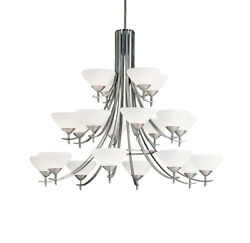 Kichler Lighting Olympia 20 Light Chandelier Antique Pewter Satin Etched Glass
