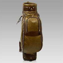 Terrida Italian Designer Brown Ostrich Leather Luxury Golf Bag wHood Cover