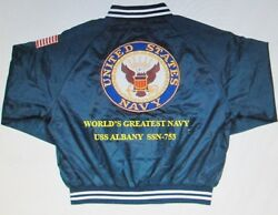 Uss Albany Ssn-753 Navy Anchor Embroidered 2-sided Satin Jacket