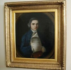 English School Portrait Oil Canvas Painting Of A Young Artist 18th Century