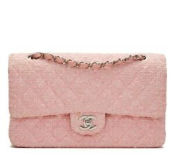 CHANEL PINK QUILTED TWEED MEDIUM CLASSIC DOUBLE FLAP BAG  HB1134