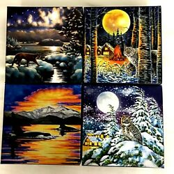 Animals In The Moonlight Andndash 2 Oz. Pure Silver Glow-in-the-dark 4-coin Set