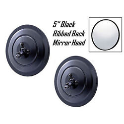 1947-1972 Chevy Truck 5 Black Ribbed Exterior Door Round Rear View Mirror Pair