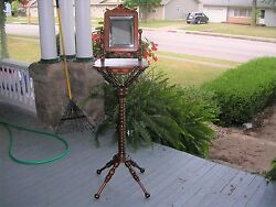 Antique Hunzinger Cherry Standing Shaving Stand Drawer And Beveled Mirror