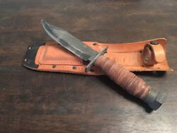 Camillus Cutlery Co. | Oshi | Pilot Survival Knife Vintage | Steel And Leather