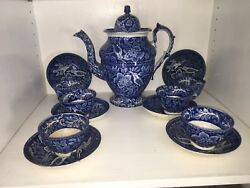La5 Historical Staffordshire Blue Coffee Pot 6 Cup Saucer Birds Of Paradise 1825