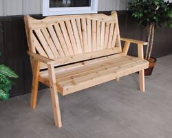 Aandl Furniture Co. Amish-made Cedar Fanback Garden Benches Available In 3 Sizes