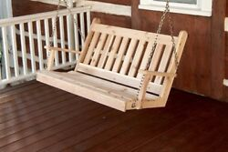 Aandl Furniture Co. Amish-made Cedar Traditional English Porch Swings In 4 Sizes