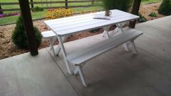 Aandl Furniture Co. Amish-made Pine Cross-leg Picnic Tables With Benches - 4 Sizes