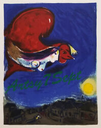 Marc Chagall Girl And Red Bird Fly Over Village 1950 Litho Free Framing/shipping