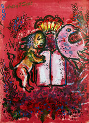 Marc Chagall Original 1962 Lithograph Lion, Bird And Tablets Free Framing/shipping